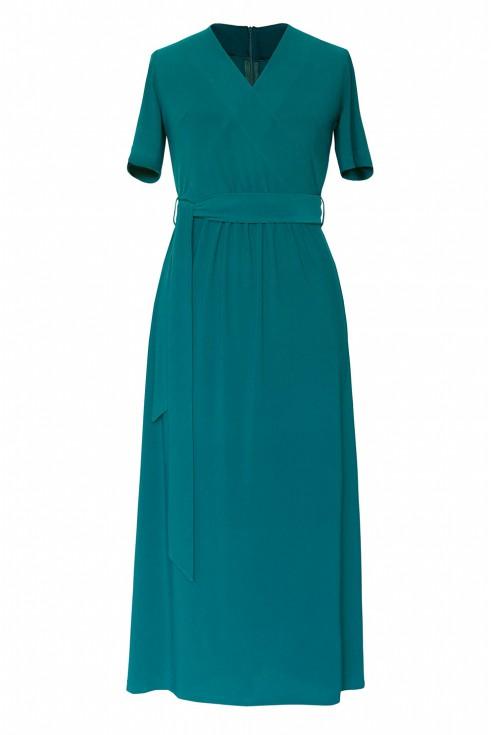 Butelkowa sukienka z kopertowym dekoltem xxl