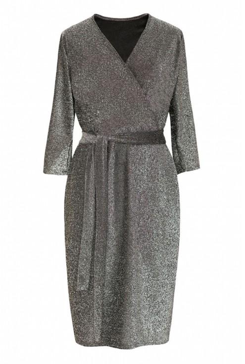 Srebrna błyszcząca sukienka z kopertowym dekoltem