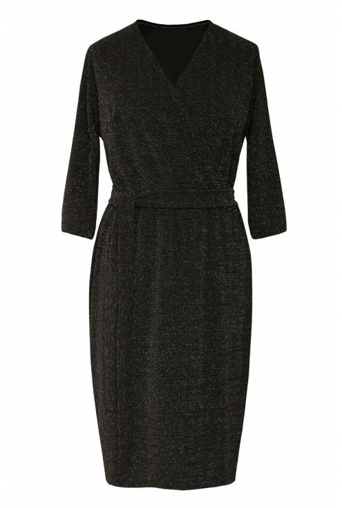 Czarna błyszcząca sukienka z kopertowym dekoltem xxl