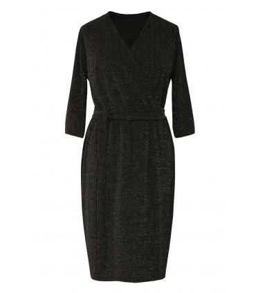 Czarna błyszcząca sukienka z kopertowym dekoltem - VERA