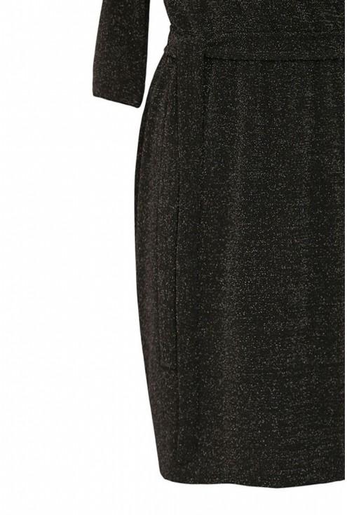 Sukienka z kopertowym dekoltem czarna xxl