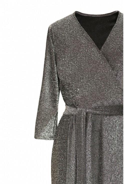 Srebrna błyszcząca sukienka plus size