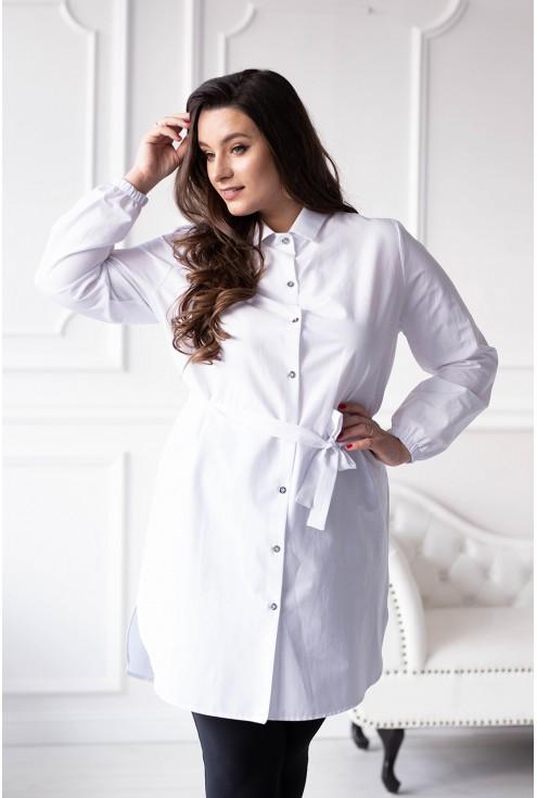 Biała długa tunika koszulowa z wiązaniem - ALIA