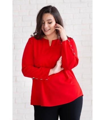 Czerwona bluzka ze złotymi guzikami - NESSA