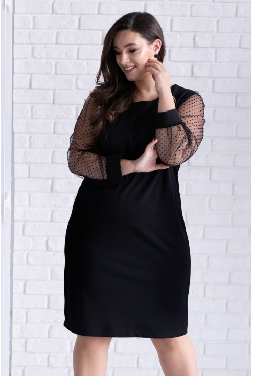 Czarna sukienka z tiulowymi rękawami - LORITA