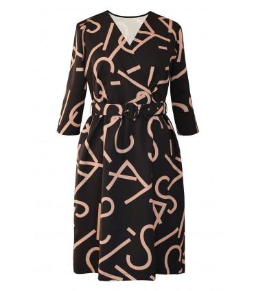Czarna sukienka z wzorem w literki - DELIA