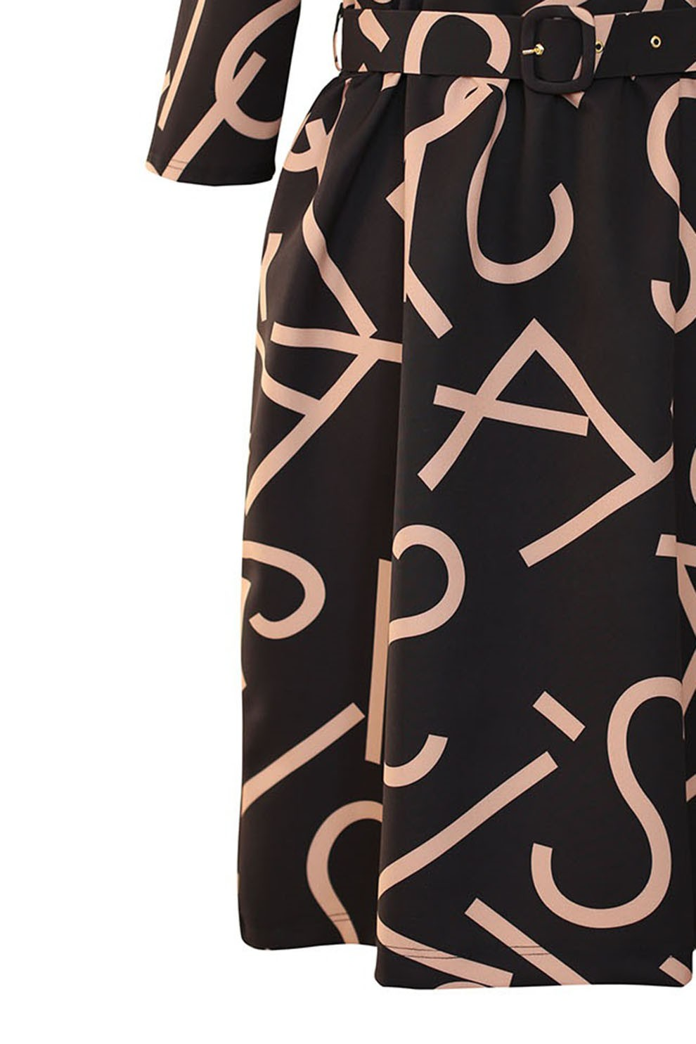 Czarna sukienka z wzorem w literki DELIA XL ka