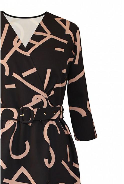 Czarna sukienka z paskiem xxl