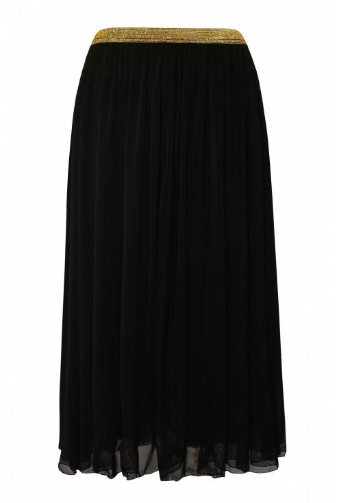 Czarna tiulowa spódnica ze złotą gumką xxl