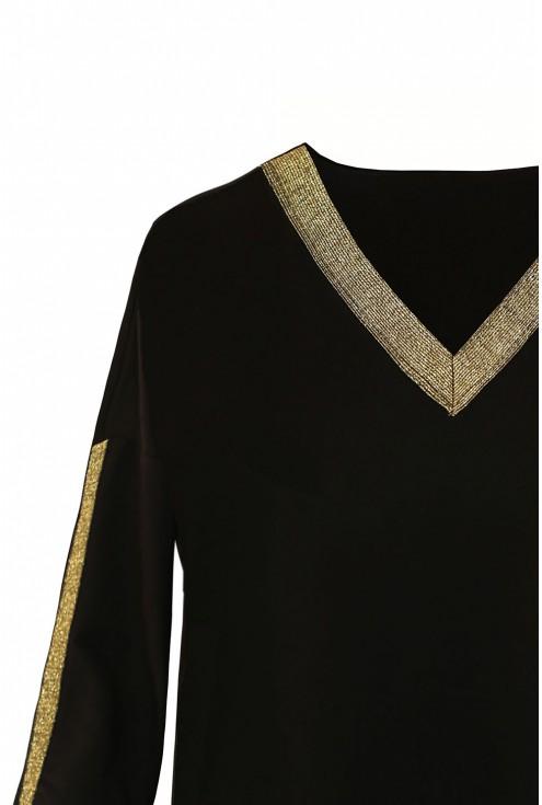 Czarna bluzka xxl złote dodatki
