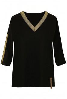 Czarna bluzka ze złotym dekoltem xxl