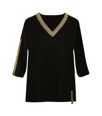 Czarna bluzka ze złotym dekoltem - MADISON