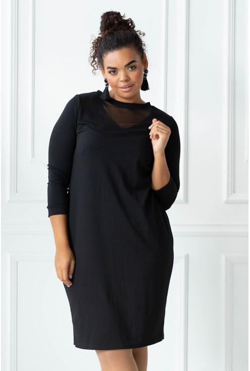 czarna sukienka dekolt V siatka xxl