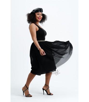 Czarna tiulowa spódnica z czarno-złotą gumką - FIONA