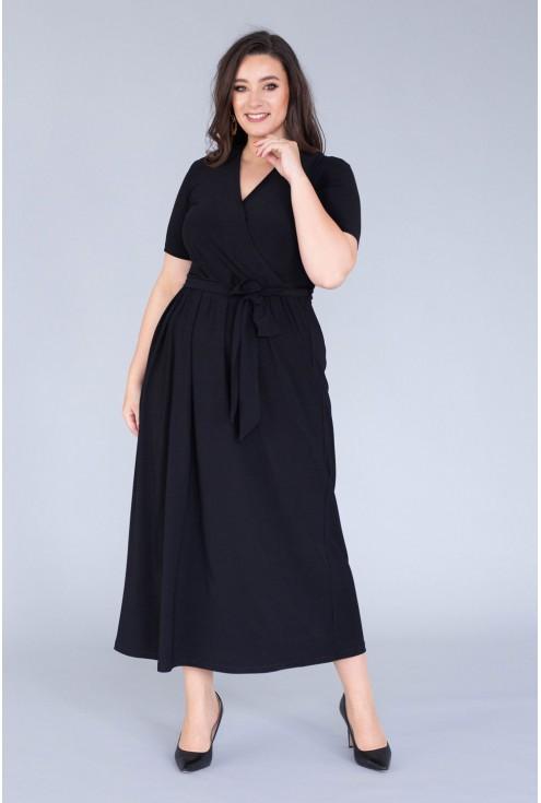 czarna sukienka z kopertowym dekoltem luiza