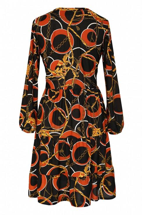 czarna sukienka z czerwono-złotym wzorem tył
