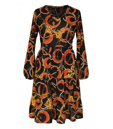 Czarna sukienka z czerwono-złotym wzorem - RYAN