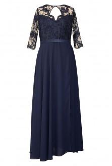 granatowa długa suknia balowa duże rozmiary