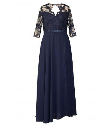 Granatowa długa sukienka z koronką (asymetryczny dół) - MEGAN