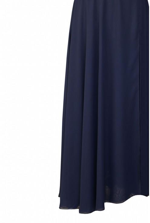 granatowa długa sukienka Megan - dół