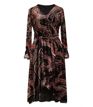 Czarna sukienka z kolorowym wzorem - DOLCE WELUR