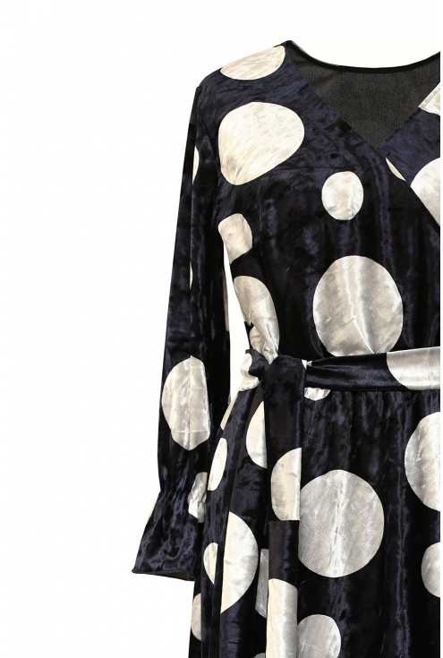 Granatowa sukienka w srebrne kropki - DOLCE WELUR