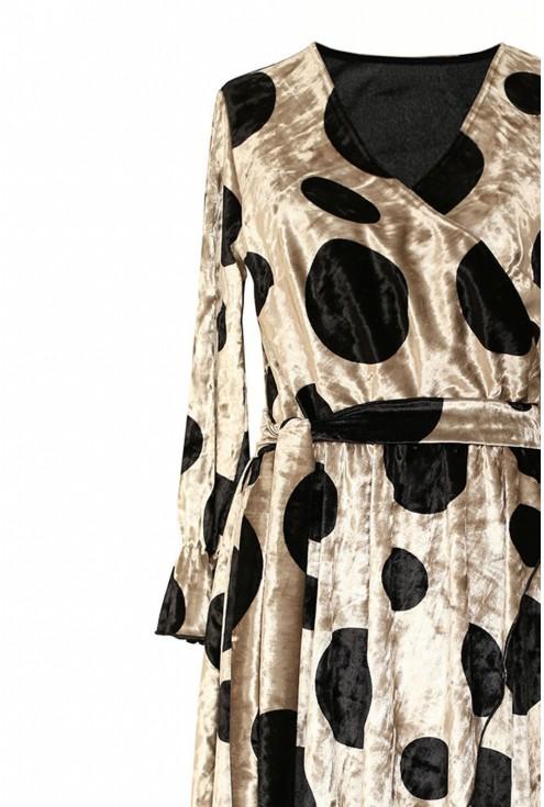 Kremowa sukienka w czarne kropki - DOLCE WELUR