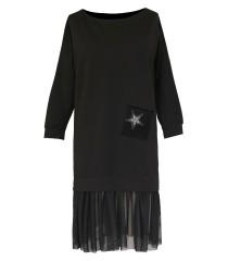 Czarna tunika/sukienka z ozdobną gwiazdką i falbanką na dole -  INES