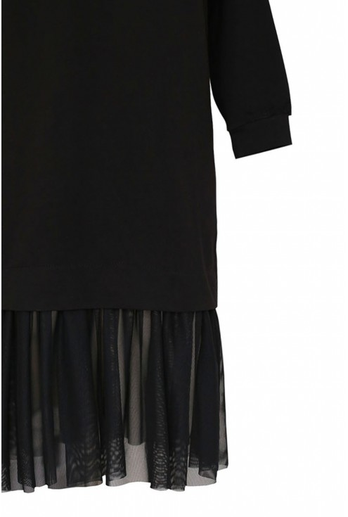 Czarna tunika z tiulową falbanką na dole -  INES