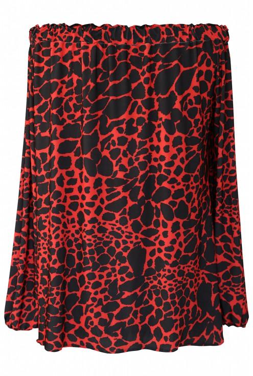 Czerwona bluzka hiszpanka w czarną panterkę - CARMEN