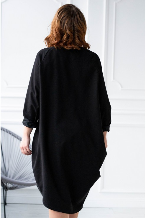 Czarna dresowa sukienka oversize - MISHA