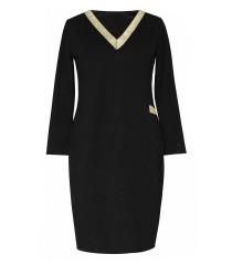 Czarna sukienka dresowa ze złotym dekoltem V - MADELINE