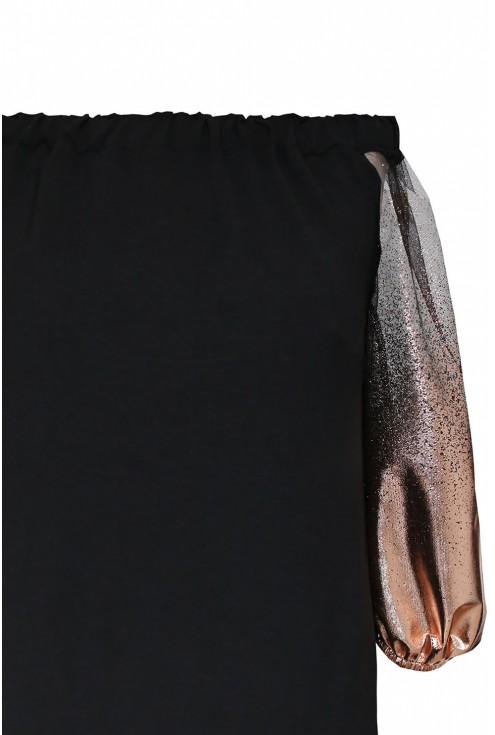 Czarna bluzka hiszpanka z rękawami (różowe złoto) - KAYLA