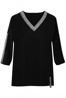 czarna bluzka ze srebrnym dekoltem