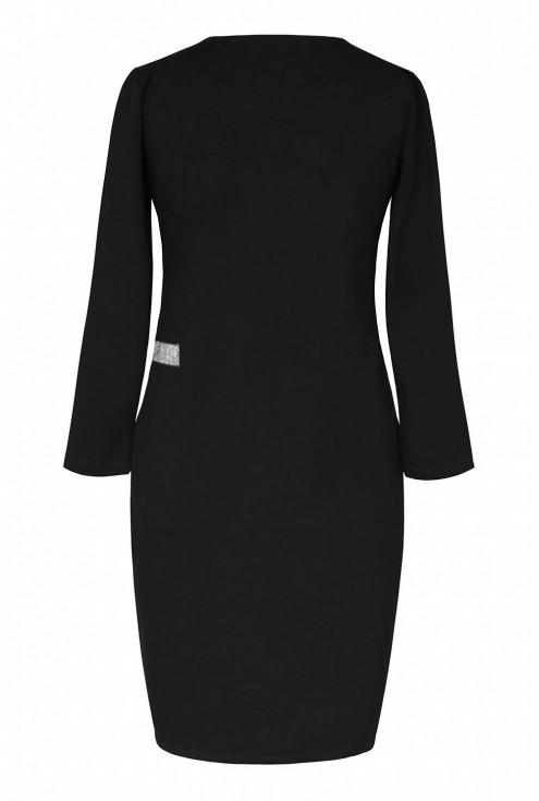 czarna sukienka z dekoltem V - tył