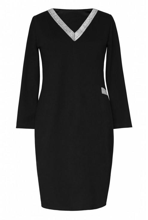 czarna sukienka z dekoltem V - w dużych rozmiarach