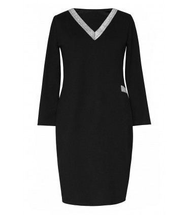 Czarna sukienka dresowa ze srebrnym dekoltem V - MADELINE