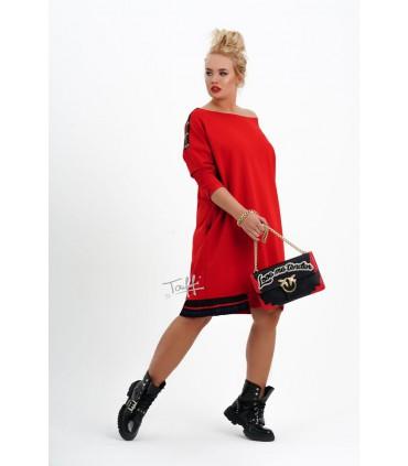 Czerwona dresowa sukienka TIRI