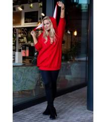 Czerwona długa bluza oversize z uszami - RABIT