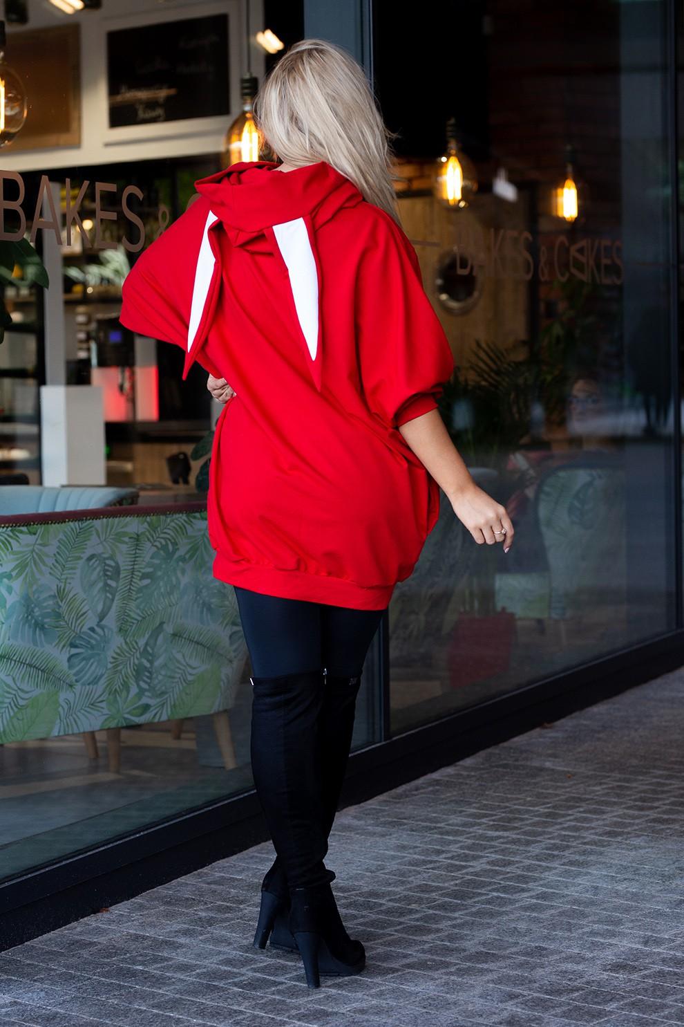 Czerwona długa bluza oversize z uszami RABIT XL ka