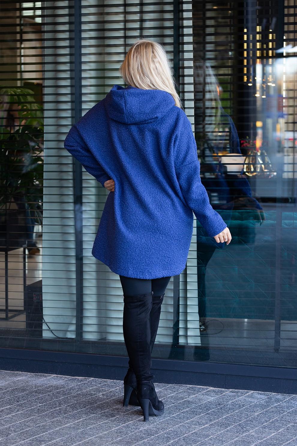 Płaszcz oversize z kapturem TIFFANY kolor jeansowy Sklep