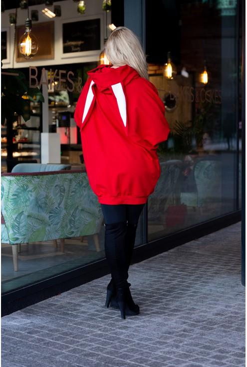 Czerwona długa bluza oversize z uszami xxl