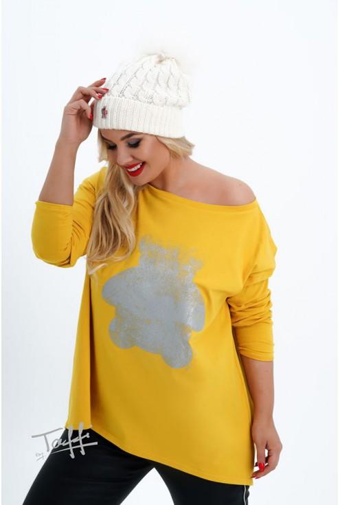 żółta bluzka z nadrukiem xl