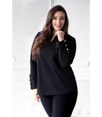 Czarna bluzka ze złotymi guzikami (ramiona i rękawki) - NESSA