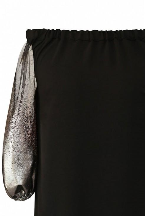 czarna bluzka hiszpanka z ozdobnymi rękawami