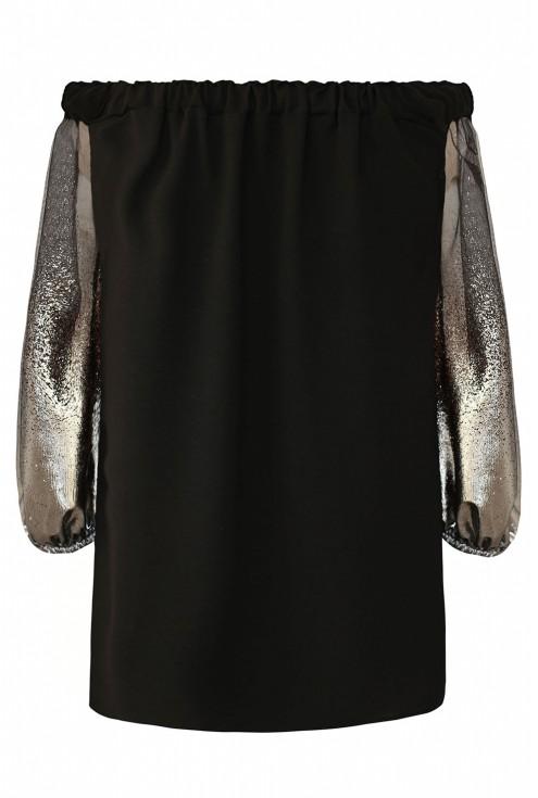 Czarna bluzka hiszpanka ze srebrnymi rękawami - KAYLA