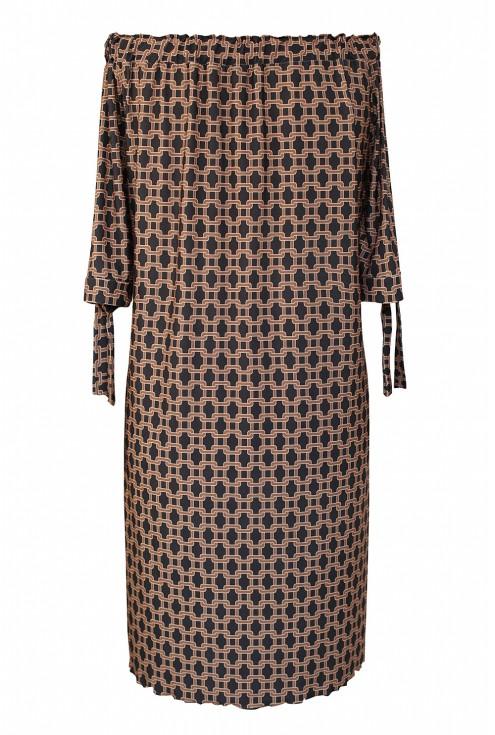 Czarno-brązowa sukienka hiszpanka z wzorem - MARITA