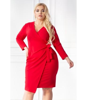 Czerwona sukienka z kopertowym dekoltem i wiązaniem w talii - CARLY