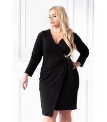 Czarna sukienka z kopertowym dekoltem i wiązaniem w talii - CARLY