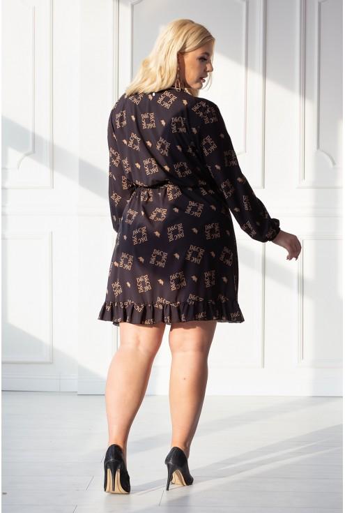 Czarna sukienka z karmelowymi napisami - ALEXA